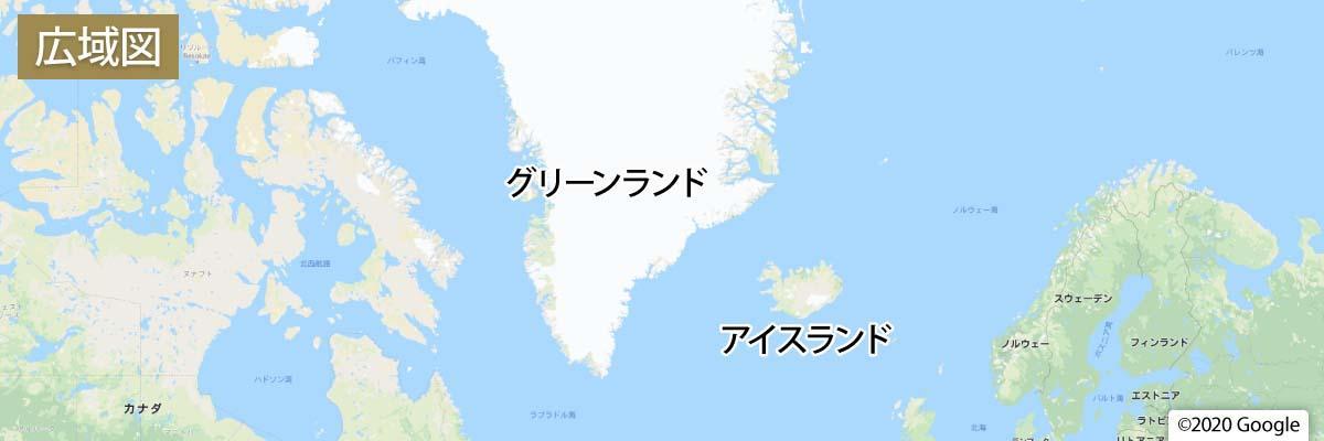 アイスランド・グリーンランド地図